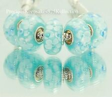 """*ONE~Murano Glass Bead """"White Blooms on Soft Blue"""" Sterling Silver non thread"""