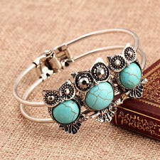 New Fashion Vintage Silver Plated Owl Retro Turquoise Open Bangle Bracelet