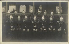 Fire Fighters Uniforms Helmets South Africa on Back c1915 Real Photo Postcard
