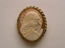 Old Mary Madonna Italian Carved Shell Cameo Signed & Gold Filled Brooch Pendant