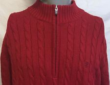 IZON Red Cable Knit Ken Bone Half Zip Sweater Size Large Debate Golf Up Nerdy