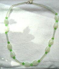 """20"""" necklace, opalite, white, spring green glass beads"""