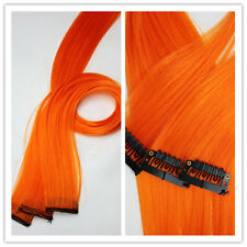 "4PCS 20"" CLIP IN Synthetic Human Hair Extension Orange Straight Hairs Clip"