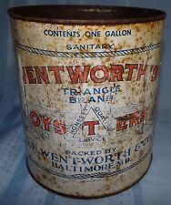 O.E. Wentworth & Co 1 Gallon Oyster Can Vtg Antique Tin Metal Advertising
