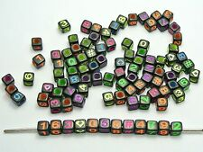 """250 Black with Neon Color Assorted Number """"#"""" Cube Pony Beads 6X6mm"""