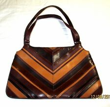 BCBG MAXAZRIA Brown Striped Leather Small Hand Bag/Purse EUC