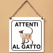 Siamese 5 Attenti al gatto Targa gatto cartello ceramic tiles