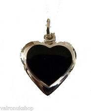 Sterling Silver and Black Onyx Heart Shape Locket Necklace