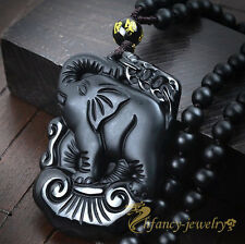 100% Natural Black Obsidian Hand Carved Elephant Lucky Pendant + Beads Necklace