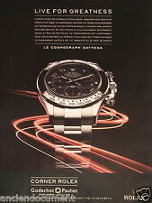 PUBLICITÉ 2011 ROLEX LIVE FOR GREATNESS LE COSMOGRAPH DAYTONA - ADVERTISING