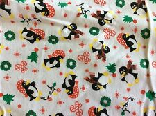 CHRISTMAS PENGUIN & CANDY CANES FLANNEL FABRIC  1 1/3 YARDS