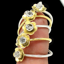 Two Tone - Herkimer Diamond 925 Sterling Silver Ring Jewelry s.7 SR211306