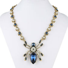 Halloween Spider Insect Pendant Necklace Blue Austrian Crystal Antiqued Gold GP