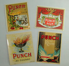 LOT PR 4 ETIQUETTES ALCOOL PUNCH AU RHUM COGNAC OLD LABELS ANCIENNES