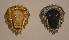 VINTAGE SIGNED RAZZA PAIR OF LION HEAD PINS BROOCHES- BLACK/SILVER & IVORY/GOLD