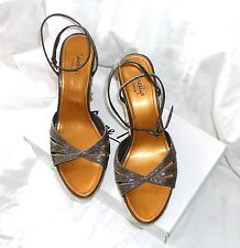 Brown Leather Ankle Strap Wedge Heel Sandals By Shellys London UK6.5/40