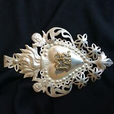 BEAUTIFUL ITALIAN EX VOTO MILAGRO SOLID SILVER STERLING ANTIQUE ANGELS GR