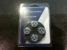 OEM GENUINE MERCEDES BENZ BLACK VALVE STEM CAPS WITH MB STAR  SET OF 4