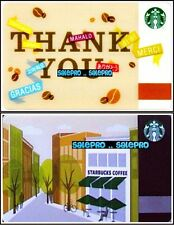 2x STARBUCKS 2012 2015 THANK YOU MERCI STORE FRONT COLLECTIBLE GIFT CARD LOT