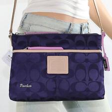 NWT Coach Signature Nylon Shoulder Bag Crossbody Hippie 24861 Navy Blue RARE
