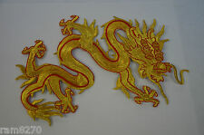 GOLD RED CHINESE DRAGON LGE LR EMBROIDERED CLOTH SEW IRON ON PATCH BADGE GRD11