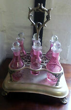Quality Late 19th Century 6 Ruby Glass Bottle Decanter on Plate Metal Stand