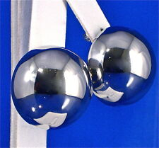 STAINLESS STEEL LARGE HOLLOW PUFFED 1/2 SPHERE STUD EARRINGS, 1""