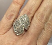 Large Sterling Silver 2 Ct Diamond Pave Cluster Cocktail Wedding Huge 925 Ring 8