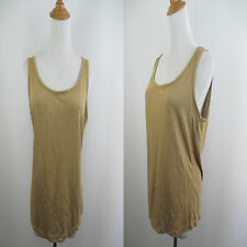 NEW W TAG $50 RALPH LAUREN WOMENS SZ L BEIGE GOLD GLITTER METALLIC TANK CAMI TOP