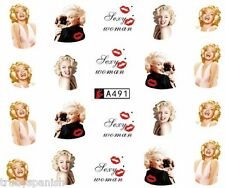 Nail Art Water Decals Stickers Lips Portrait Marilyn Monroe Gel Polish (A491)