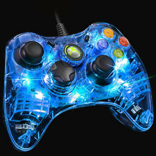 "MANETTE FILAIRE XBOX 360 OFFICIELLE MICROSOFT AFTERGLOW BLEU ""NEUF"" AXB3600295"