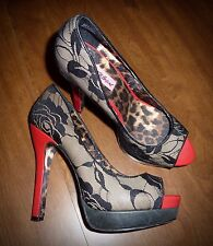 "NEW BETSEY JOHNSON - BLACK LACE & RED PATENT 5 1/2"" PEEP-TOE PUMPS - LADIES 9M"