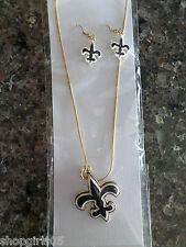 NEW! FLEUR DE LIS /NEW ORELANS/ SAINTS NECKLACE AND EARRING SET