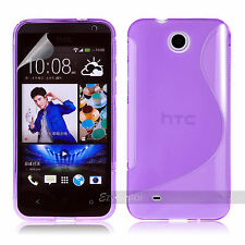 PURPLE S CURVE GEL TPU Jelly CASE COVER FOR Telstra HTC  Desire 300