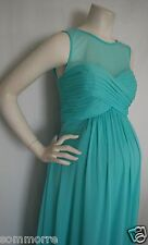 New Long Mint Chiffon Empire Sheer Top Maternity Dress Gown LARGE Bridesmaids