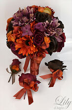 17 Piece Package Silk Flower Wedding Bridal Bouquet PLUM MAUVE ORANGE BROWN FALL