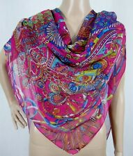 (630011)Pink 135cm Square Ladies Large Silk Style Scarf Shawl Wrap Hijab