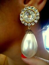VTG 1980S CHRISTIAN DIOR COUTURE GLASS CRYSTAL HUGE PEARL DROP RUNWAY EARRINGS