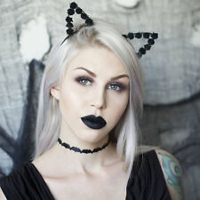 Cute black ribbon wrapped cat ears with black paper rose flowers headband