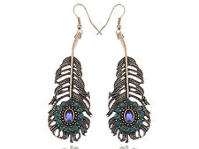 Gold  Violet Rhines Peacock Feather  Dangling LJH Earrings
