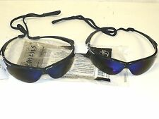 2 New NEMESIS SAFETY GLASSES - BLUE MIRROR-w/ Neck cord- 3000358-Free Shipping