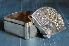 FINE ANTIQUE CHINESE EXPORT SILVER FAN SHAPED TRINKET BOX BY WANG HING