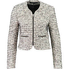 chic new FRENCH CONNECTION cream black tweed FCUK JACKET uk14 us10 it46 bnwt