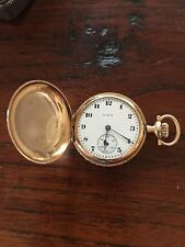 Antique 14K Solid Gold W/ Diamond Elgin Ladies Pocket Watch Dbl Hunter Runs 1917