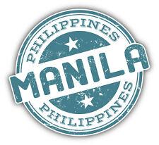 """Manila City Philippines Grunge Travel Stamp Car Bumper Sticker Decal 5"""" x 5"""""""