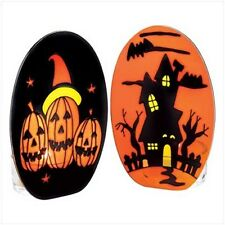 Set 2 Halloween Candleholders Orange Glass Jack-o-Lantern Pumpkin Haunted House
