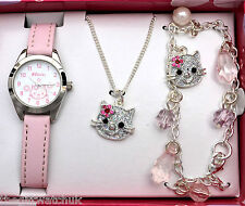 Girls Gift Set, Pink Watch, Necklace & Charm Bracelet, Ravel Little Gems Kittens