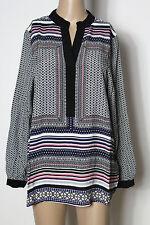 H&M Tunika Gr. 38 schwarz-blau-weiß-rosa Hippie Ethno A-Linie Muster Tunika