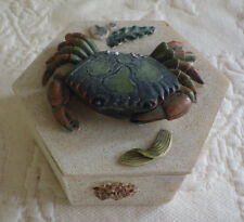 "Crab Jewelry Box Made in China 6 Sided 2.5"" White"
