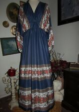 Ethnic Boho vtg Lady Lewis Los Angeles Blue Mumu Caftan Fitted Maxi Dress